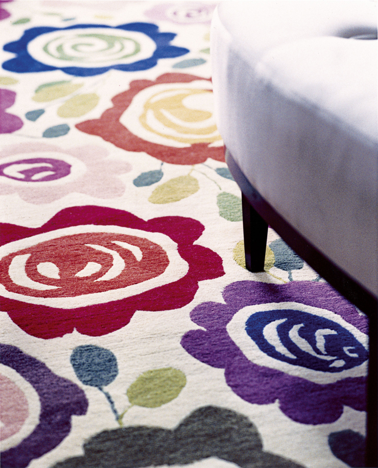 British Homes & Gardens features Tea Roses plush designer rug by Kim Parker
