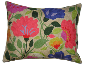 Purple Tulips designer pillow from the Kim Parker Home collection