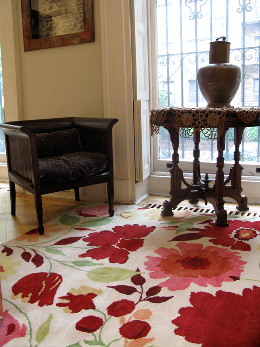 """Morning Roses"" designer rug from the Kim Parker Home collection"